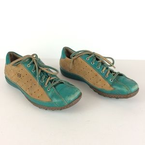 Born Leather Turquoise & Tan Lace Up Sneakers Sz 8